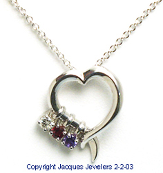 Boston diamond engagement rings and fine jewelry designs at jacques jacques 18 kt white gold open heart pendant with birthstones aloadofball Images