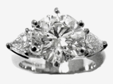 Jacques Platinum Diamond Engagement Ring with Pear Shape Diamonds on Sides