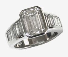 Jacques Platinum Emerald Cut Diamond Engagement Ring with Baguettes on Sides