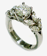 Jacques Platinum Diamond Engagement Ring with Marquise Shape Diamonds on Sides